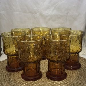 Vintage Libbey Country Garden Daisy Flower Amber